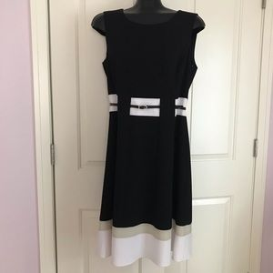 Sleeveless black white beige frank Lyman dress
